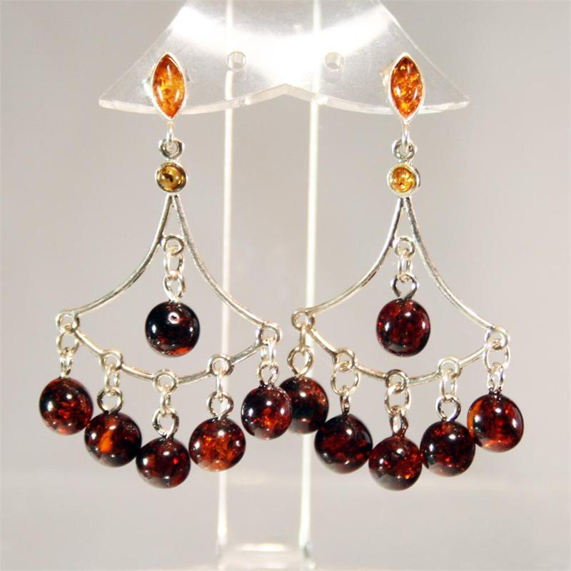 Cherry amber designer chandelier earrings made in lithuania aloadofball Image collections