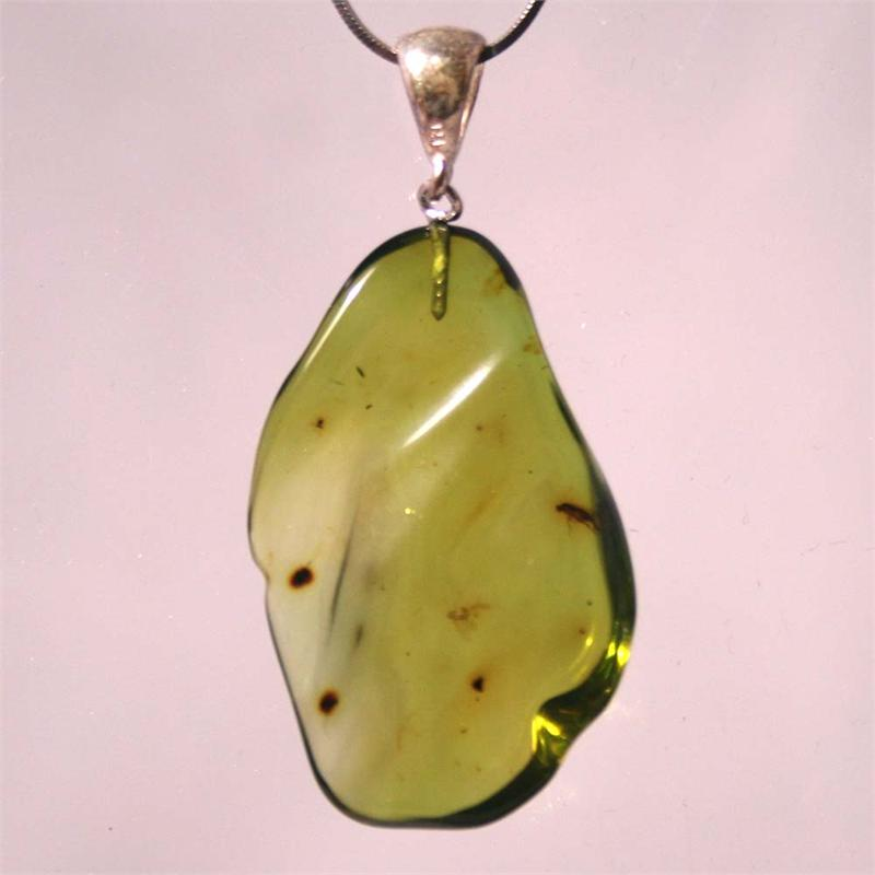 Green baltic amber pendant with insect and 925 sterling silver mozeypictures Gallery