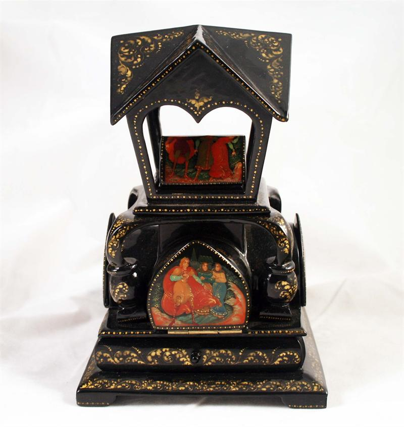Russian Lacquer Box: Fairy Tales Unusual Shape Gazebo painted by ...