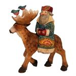Russian Wooden Santa On A Deer