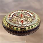 Antique Russian Silver-Gilt and Enamel Powder Case