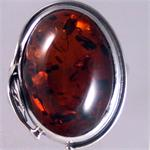 Dark Cognac Amber and Silver Ring