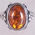 Cognac Amber and Silver Ring 9