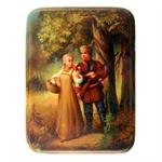 Russian Lacquer Box The Hunters Rendezvous by Pysatlov from Fedoksino