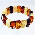 Multicolor Baltic Amber Stretch Bracelet made in Lithuania