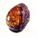 Baltic Honey Amber and Leather Designer Ring Made in Lithuania