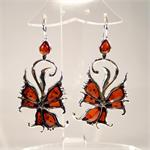 Cognac Amber and 925 Sterling Silver Butterfly Style Earrings