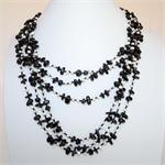 Black Onyx and Pearl Bead Designer Multi-Strand Necklace