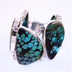 Genuine Antique Turquoise and 925 Sterling Silver Designer Bracelet