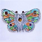Enamel CZ and Semi Precious Gemstone Butterfly Pin in Sterling Silver