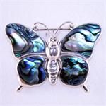 Abalone Shell and Sterling Silver Butterfly Pin