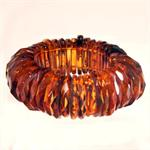 Faceted Cognac Color Baltic Amber Stretch Bracelet Hand Made in Lithuania