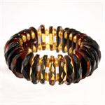 Green Amber Faceted Bracelet Hand Made in Lithuania