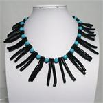 Black Coarl and Turquoise Necklace