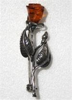 Amber Silver Rose Brooch Pin