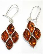 Cognac Baltic Amber Earrings in Sterling Silver from Lithuania