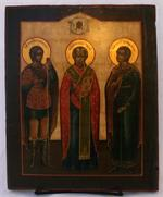 Antique Russian Icon: Saint Nicholas and Two Saints