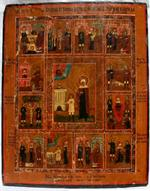 Antique Russian Icon - Saint Ulita and Saint Kirik with Scenes form Life