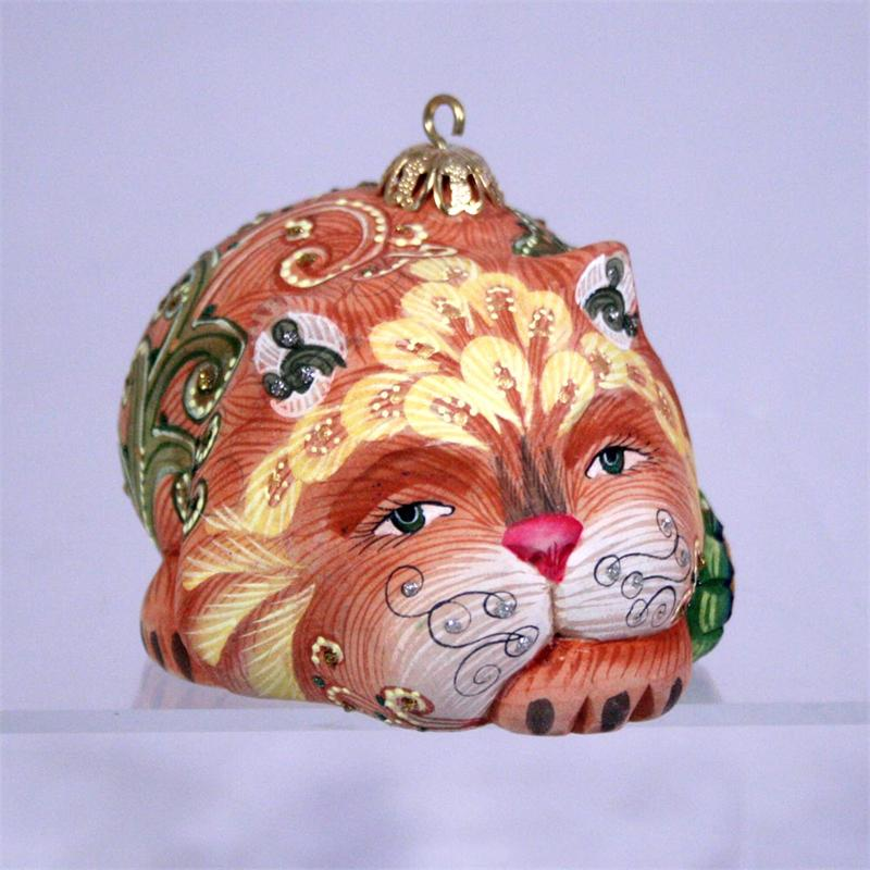 Russia Christmas Ornaments.Cat Christmas Ornament Carved From Solid Wood Made In