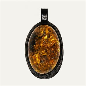 Amber And Leather Pendant