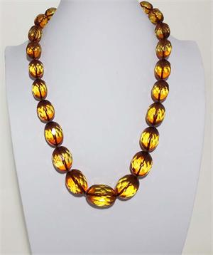 Green Amber Faceted Necklace Made in Lithuania