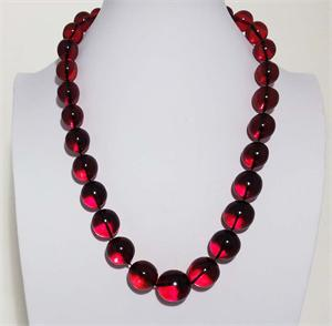 Red  Color Baltic Amber Necklace