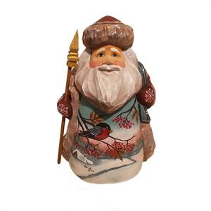 Russian Wooden Santa With Bird
