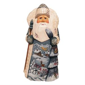 Russian Wooden Santa With Winter Landscape