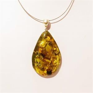 Green Amber Pendant with Insects