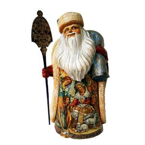 Russian Wooden Santa Nativity With Children By Nadezhdina