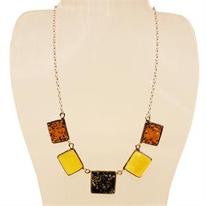 Silver And Amber Necklace