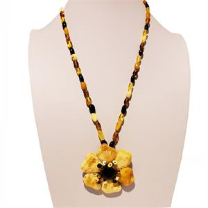 Multicolor Amber Necklace With Butterscotch Flower
