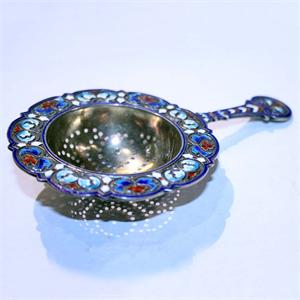 Antique Norwegian Silver-Gilt and Enamel Tea Strainer