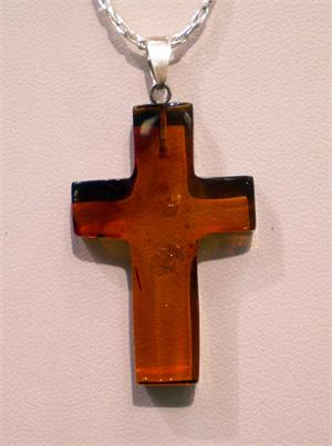 Baltic Amber Cross Pendant in Sterling Silver from Lithuania