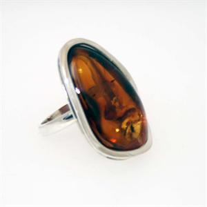 Sterling Silver Baltic Amber  Ring 3