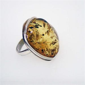 Sterling Silver Baltic Amber  Ring 9