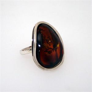 Sterling Silver Baltic Amber  Ring 15