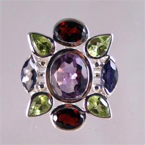 Multicolor Semiprecious Stones and Silver Ring