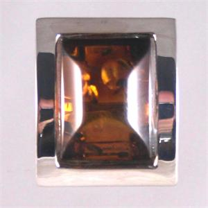 Cognac Amber and Silver Ring