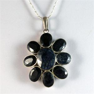 Sapphire and Silver Pendant
