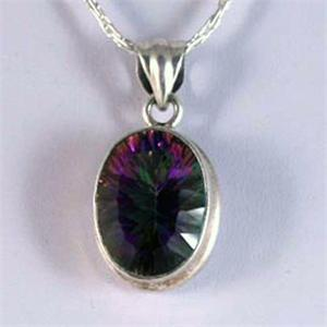 Mystic Topaz and Silver Pendant