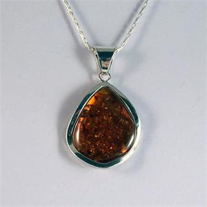 Honey Amber and Silver Pendant 3