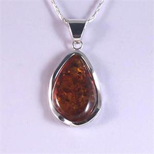 Cognac Amber and Silver Pendant 10