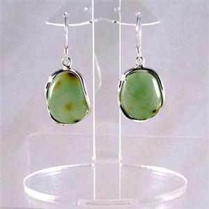 Green Amber and Silver Earrings3