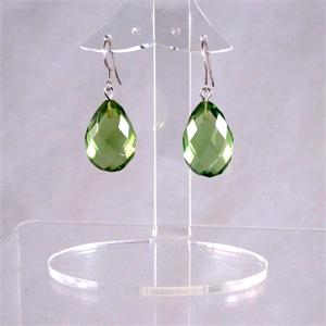 Faceted Green Amber Earrings