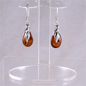 Honey Amber and Silver Earrings