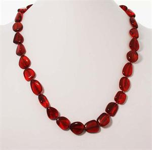Red Baltic Amber Necklace 3