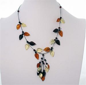Multicolor Baltic Amber Leaf Necklace 3