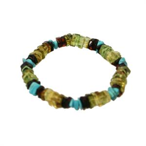 Stretch Multicolor Amber And Turquoise Bracelet