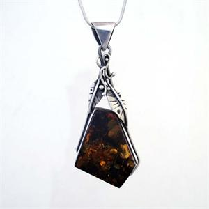 Amber And Silver Pendant 7